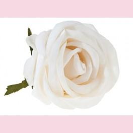 Rose en soie crème